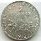 Photo numismatique  Monnaies Monnaies Françaises Troisième République 2 Francs 2 francs Semeuse de Roty 1913, G.532 TTB