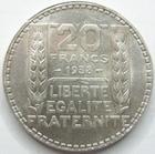 Photo numismatique  Monnaies Monnaies Françaises Troisième République 20 Francs 20 francs Turin 1938 rameaux longs, G.852 petites traces sinon SUPERBE