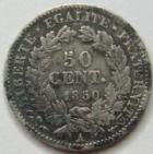 Photo numismatique  Monnaies Monnaies Françaises Deuxième République 50 Centimes 50 Centimes Cérès 1850 A, G.411 TB+