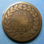 Photo numismatique  Monnaies Monnaies Françaises 1er Empire Un Décime 1er EMPIRE les cents jours, NAPOLEON Ier 1815 BB, Un décime, Gadoury 195f TB+/TB