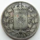 Photo numismatique  Monnaies Monnaies Françaises Charles X 5 Francs CHARLES X, 5 francs 1828 W Lille, G.644 TB à TTB