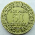 Photo numismatique  Monnaies Monnaies Françaises Troisième République 50 Centimes 50 Centimes Domard 1929, bon pour 50 centimes, G.421 TTB