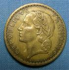Photo numismatique  Monnaies Monnaies Françaises Troisième République 5 Francs 5 Francs type lavrillier, 1939, bronze-alu, G.761 TTB