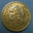 Photo numismatique  Monnaies Monnaies Fran�aises Troisi�me R�publique 5 Francs 5 Francs type lavrillier, 1938, bronze-alu, Gadoury 761 TTB