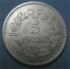 Photo numismatique  Monnaies Monnaies Françaises Gouvernement Provisoire 5 Francs 5 Francs type lavrillier, 1946 B, aluminium, Gadoury 766 TTB