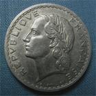 Photo numismatique  Monnaies Monnaies Françaises 4ème république 5 Francs 5 Francs type lavrillier, 1948 B, aluminium, gadoury 766a TTB Rare!