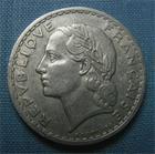 Photo numismatique  Monnaies Monnaies Françaises Gouvernement Provisoire 5 Francs 5 Francs type lavrillier, 1945 B, aluminium, Gadoury 766 TTB