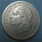 Photo numismatique  Monnaies Monnaies Françaises 4ème république 5 Francs 5 Francs type lavrillier, 1952, aluminium, Gadoury 766a  TB à TTB Rare!