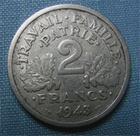 Photo numismatique  Monnaies Monnaies Françaises Etat Français 2 Francs 2 Francs type Bazor, 1943 B, aluminium, Gadoury 536 TTB Rare!