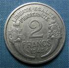 Photo numismatique  Monnaies Monnaies Françaises Gouvernement Provisoire 2 Francs 2 Francs type Morlon, 1945 B, aluminium, Gadoury 538a TTB