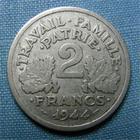 Photo numismatique  Monnaies Monnaies Françaises Etat Français 2 Francs 2 Francs type Bazor, 1944 C, aluminium, Gadoury 536 TTB