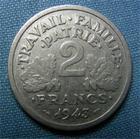 Photo numismatique  Monnaies Monnaies Françaises Etat Français 2 Francs 2 Francs type bazor, 1943 B, aluminium, Gadoury 536 TTB