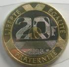 Photo numismatique  Monnaies Monnaies Fran�aises Cinqui�me r�publique 20 Francs 20 Francs 1998, G.487 BU ( sous plastique du boitier d'origine)