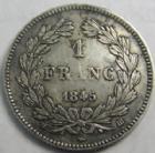 Photo numismatique  Monnaies Monnaies Françaises Louis Philippe 1 Franc LOUIS PHILIPPE I er, 1 franc 1845 BB Strasbourg, 82685 exemplaires, G.453 légères traces de néttoyage, TTB