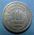 Photo numismatique  Monnaies Monnaies Françaises Gouvernement Provisoire 1 Franc 1 Franc type Morlon, 1945 C, aluminium, Gadoury 473a TB