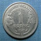 Photo numismatique  Monnaies Monnaies Françaises Gouvernement Provisoire 1 Franc 1 Franc type Morlon, 1945 B, aluminium,Gadoury 473a TTB