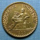 Photo numismatique  Monnaies Monnaies Françaises Troisième République 1 Franc 1 Franc type Domard, 1920, bronze-aluminium, Gadoury 468 TTB+ (néttoyé)