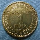 Photo numismatique  Monnaies Monnaies Françaises Troisième République 1 Franc 1 Franc type Domard, 1926, bronze-aluminium, Gadoury 468 TTB (néttoyé)