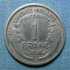 Photo numismatique  Monnaies Monnaies Françaises Gouvernement Provisoire 1 Franc 1 Franc type Morlon, 1945 C, aluminium, Gadoury 473a TB+