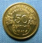 Photo numismatique  Monnaies Monnaies Françaises Troisième République 50 Centimes 50 Centimes type Morlon, 1940, bronze-aluminium, Gadoury 423 TTB