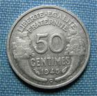 Photo numismatique  Monnaies Monnaies Françaises Gouvernement Provisoire 50 Centimes 50 Centimes type Morlon, 1945 C, aluminium, Gadoury 426a  TTB