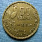 Photo numismatique  Monnaies Monnaies Françaises 4ème république 50 Francs 50 Francs type Guiraud, 1954, bronze-aluminium, Gadoury 880 TTB