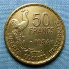 Photo numismatique  Monnaies Monnaies Françaises 4ème république 50 Francs 50 Francs type Guiraud, 1954 B, bronze-aluminium, gadoury 880 TTB (néttoyé)