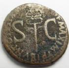 Photo numismatique  Monnaies Empire Romain TIBERE, TIBERIUS, TIBERIO As, asse,  TIBERIUS, TIBERE, as Rome en 34-35, Caduc�, 10,16 grms, RIC.53 B � TB