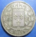 Photo numismatique  Monnaies Monnaies Françaises Louis XVIII 5 Francs LOUIS XVIII, 5 francs 1824 D Lyon, G.614 TTB+
