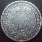 Photo numismatique  Monnaies Monnaies Françaises Deuxième République 5 Francs 5 francs Cérès 1849 BB Strasbourg, G.719 TB+