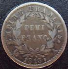 Photo numismatique  Monnaies Monnaies Fran�aises 1er Empire Demi franc NAPOLEON I er, demi franc 1813 A Paris, G.399 TTB